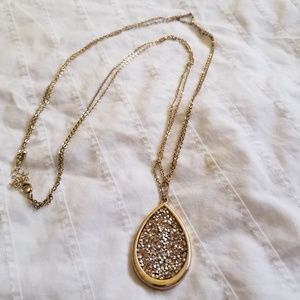 Teardrop Pendant Necklace with Pink Crystals
